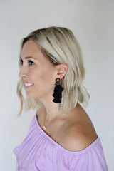 Tate Tassel Earrings - Black