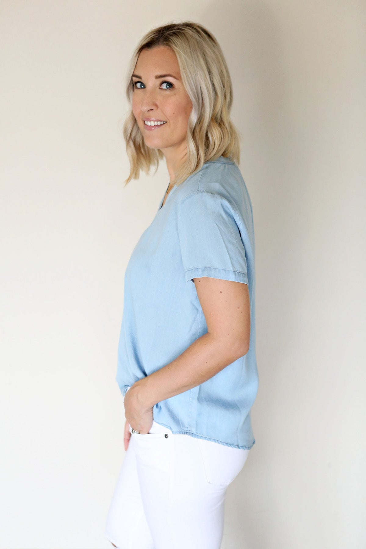 Chambray V-Neck Top - Gray Monroe