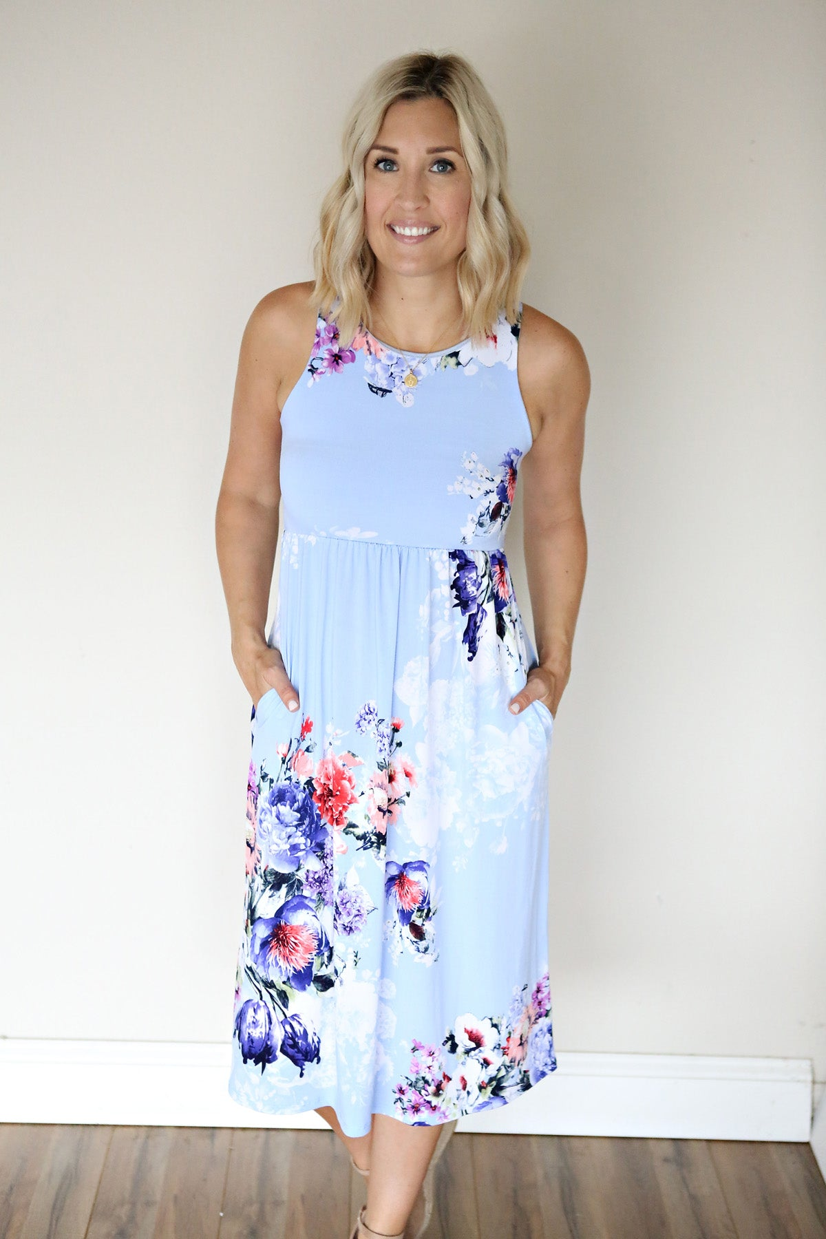 Huntley Floral Dress - Dusty Blue - FINAL SALE (50% off with code: SUMMERSALE) - Gray Monroe
