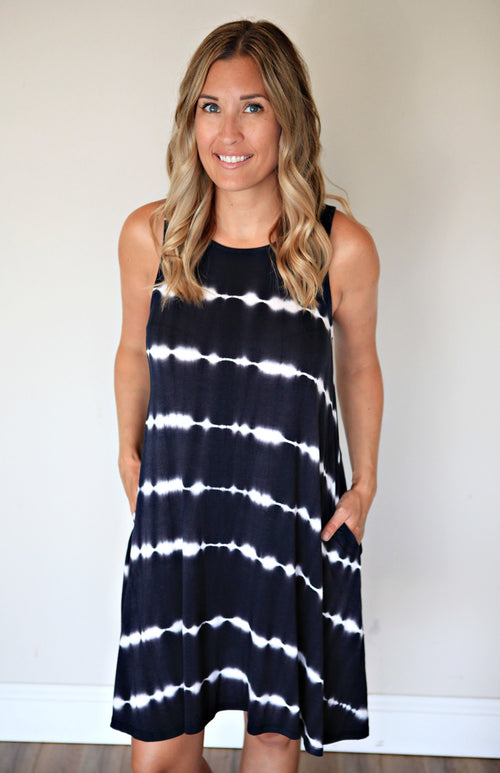 Black and White Tie Dye Sleeveless dress from Gray Monroe
