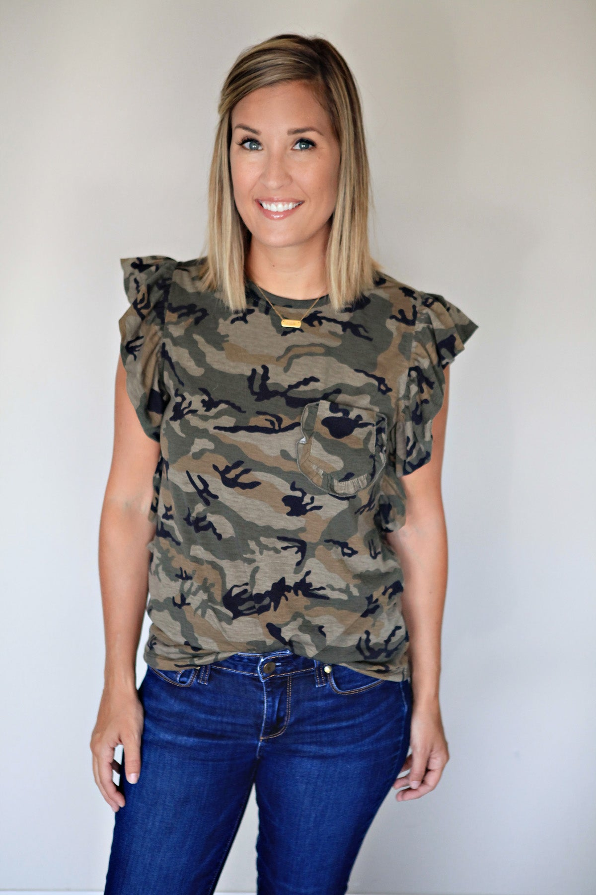Camo Top - FINAL SALE - Gray Monroe