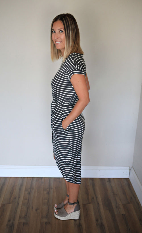 PRE-ORDER Caitlyn Dress - Gray Monroe
