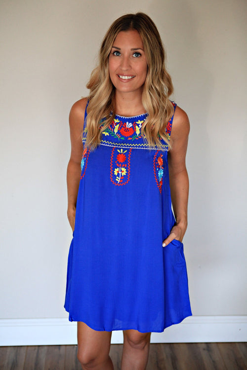 Sleeveless royal blue dress featuring colorful embroidery from Gray Monroe
