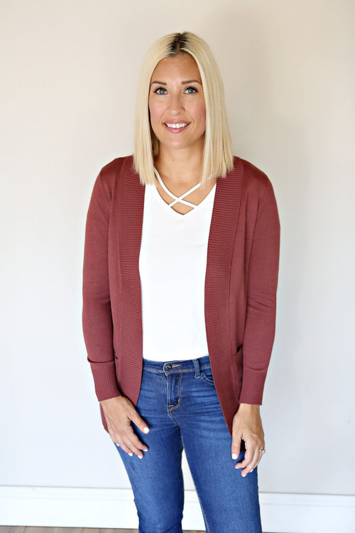 Kosten Cardigan - Red Bean - Gray Monroe