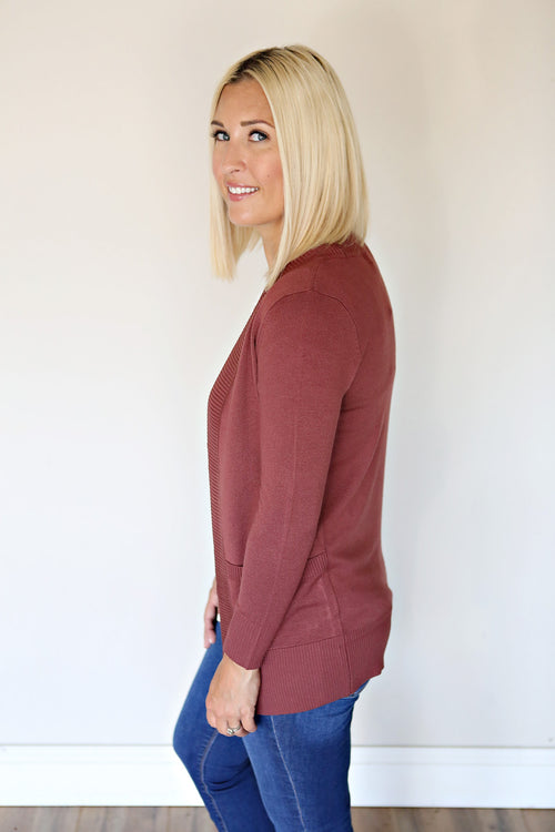 PRE-ORDER Kosten Cardigan - Red Bean - Gray Monroe