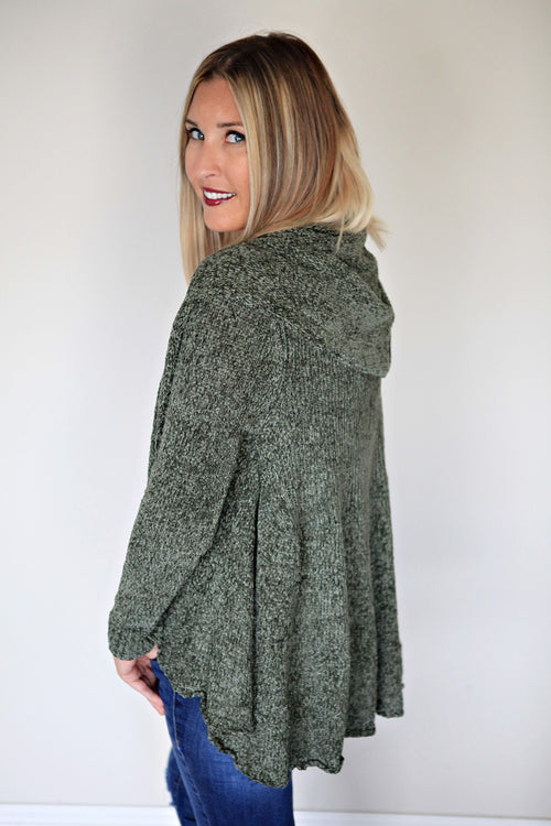Easton Ruffle Chenille Cardigan - FINAL SALE - Gray Monroe