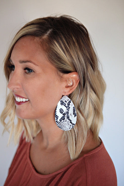 Python Leather Earrings - Gray Monroe
