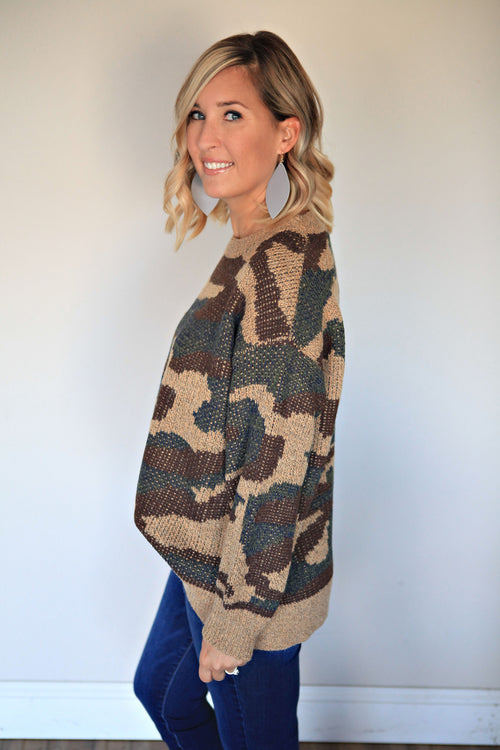 Camouflage Sweater - Gray Monroe