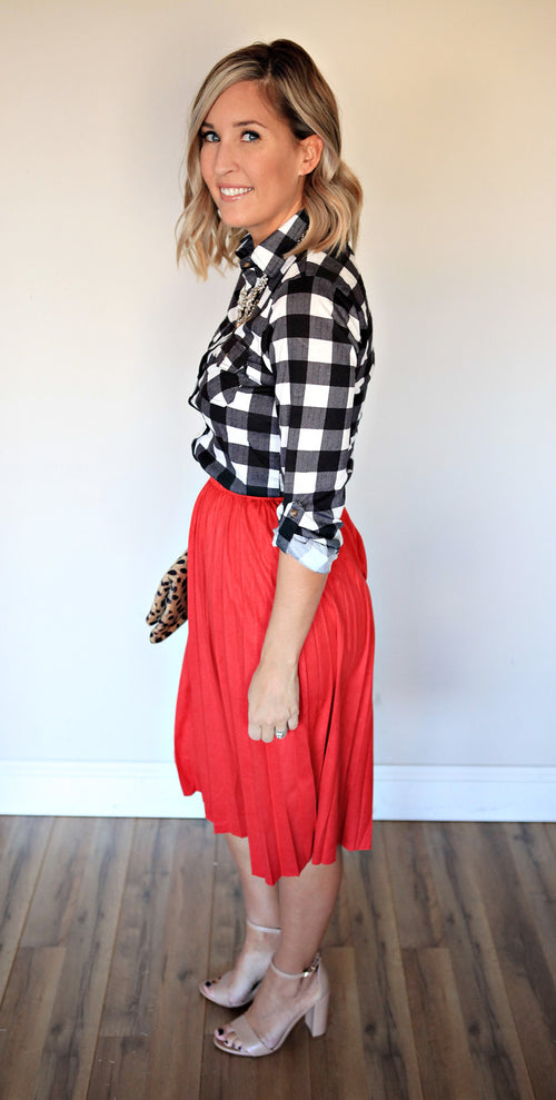 Joy Skirt - Red - Gray Monroe