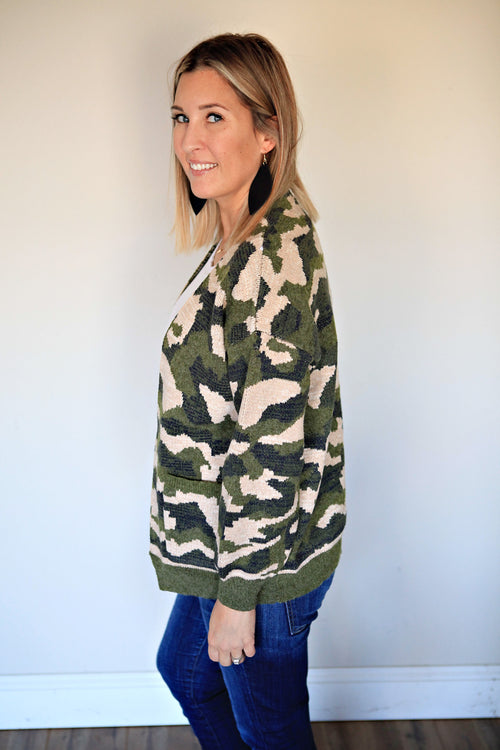 Camo Cardigan - FINAL SALE - Gray Monroe