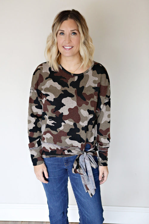 Camo Tie Top - FINAL SALE