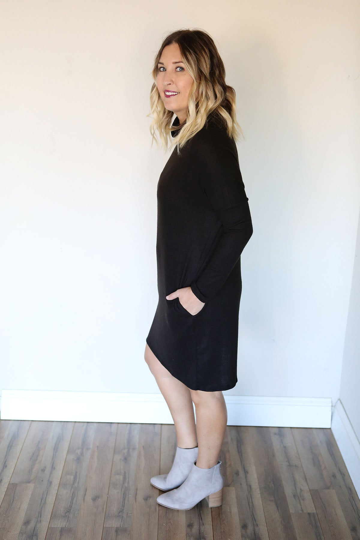 Coppes Sweater Dress - Black - FINAL SALE