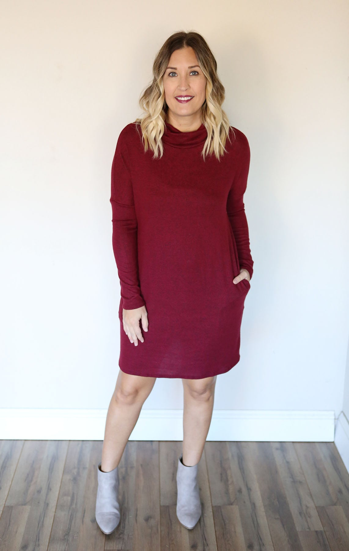 Coppes Sweater Dress - Wine