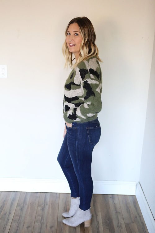 Camo Cropped Sweater - FINAL SALE