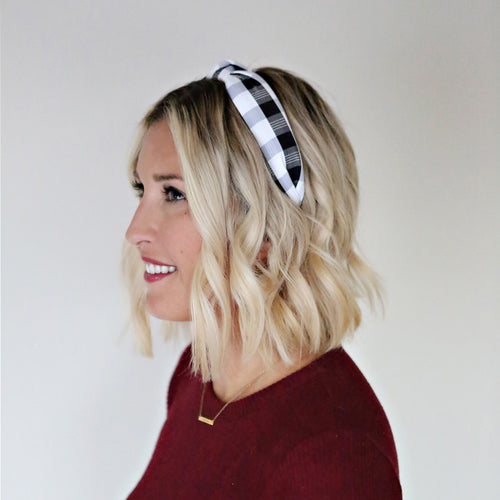 Plaid Headband - Gray Monroe