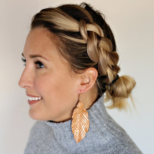 Leather Feather Earrings - Cognac