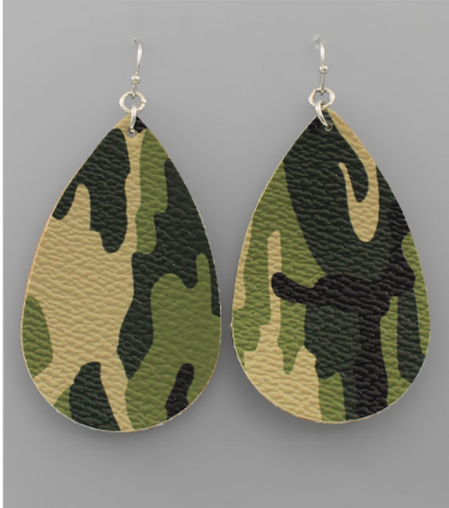 Camo Leather Earrings - FINAL SALE - Gray Monroe
