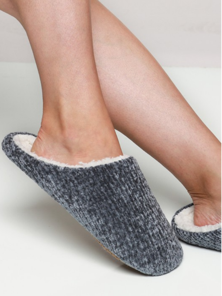 Chenille Slippers - Gray Monroe