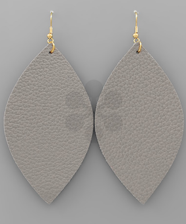 Lila Leather Earrings - Grey - Gray Monroe