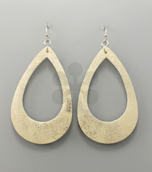 Coleman Leather Earrings - Gold - Gray Monroe