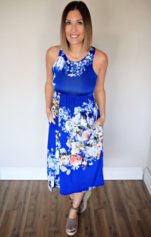 Huntley Floral Dress - Royal - FINAL SALE - Gray Monroe