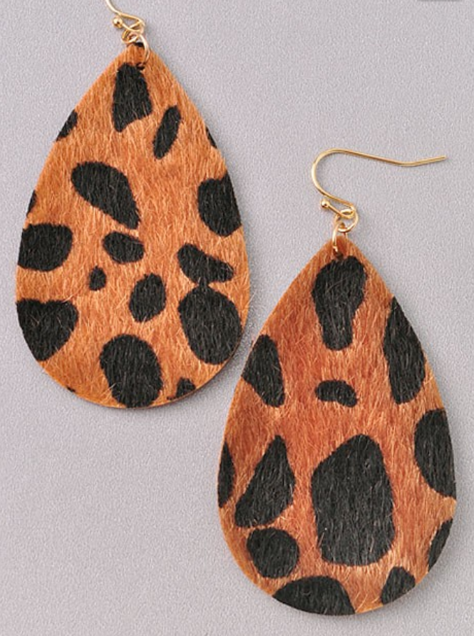 Leopard Leather Earrings - Gray Monroe