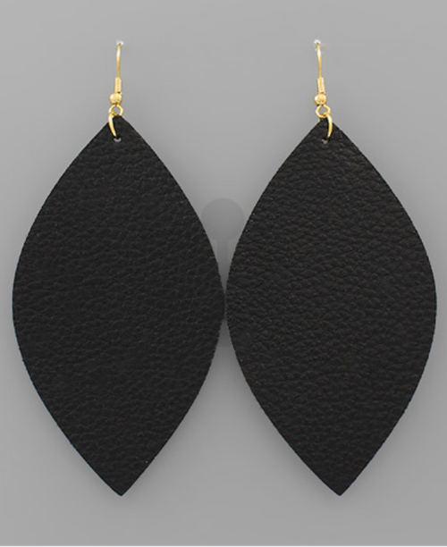 Lila Leather Earrings - Black - Gray Monroe