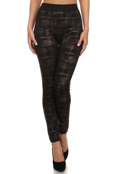 Plaid Cross Hatch Print Leggings