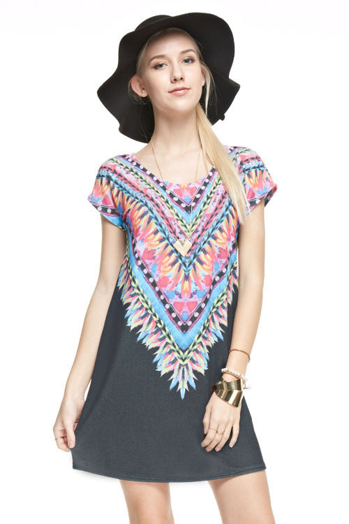 Multi Color Feather Print Short Sleeve