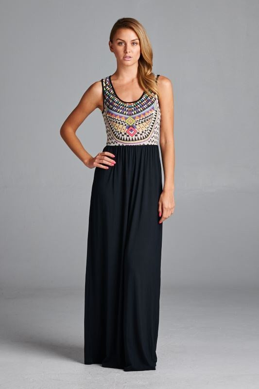 Multi Color Sublimation and Solid Bottom Maxi Dress