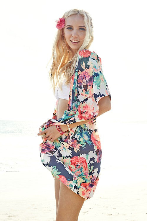 Spring Floral Print Open Front Woven Kimono Cardigan