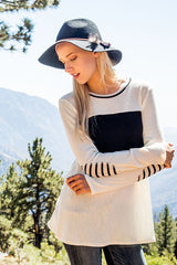 Knit Striped Elbow Patch Sweater - Ivory and Black