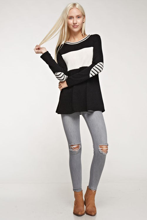 Knit Striped Elbow Patch Sweater