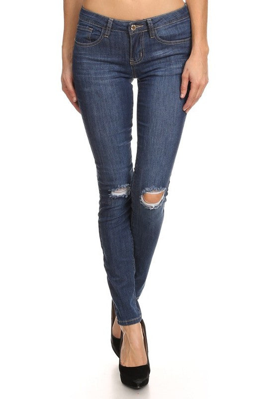 Dark Blue Basic Distressed Denim Skin Jean