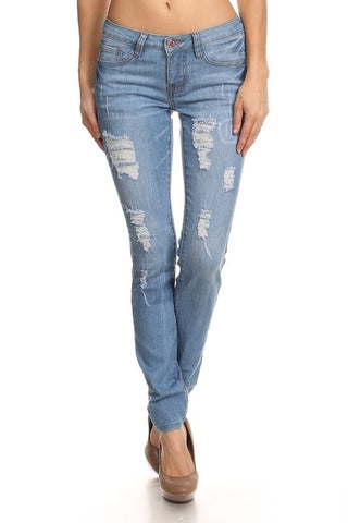 Basic Distressed Denim Skinny Jean