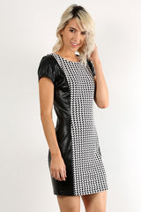 Houndstooth Print Leather Dress