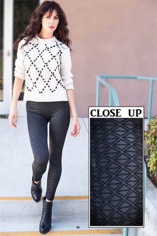 Triangle Geometric Print Textured Leggings