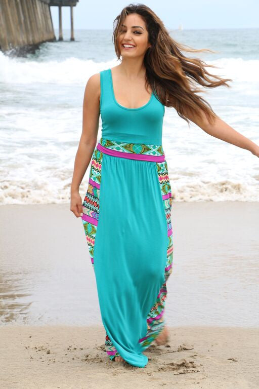 Teal Aztec Maxi Dress