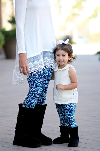 Watercolor Aztec Leggings in Blue Littles
