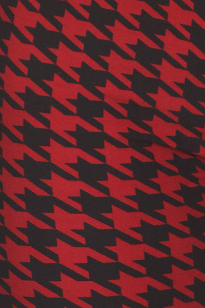 Red and Black Houndstooth Print Leggings