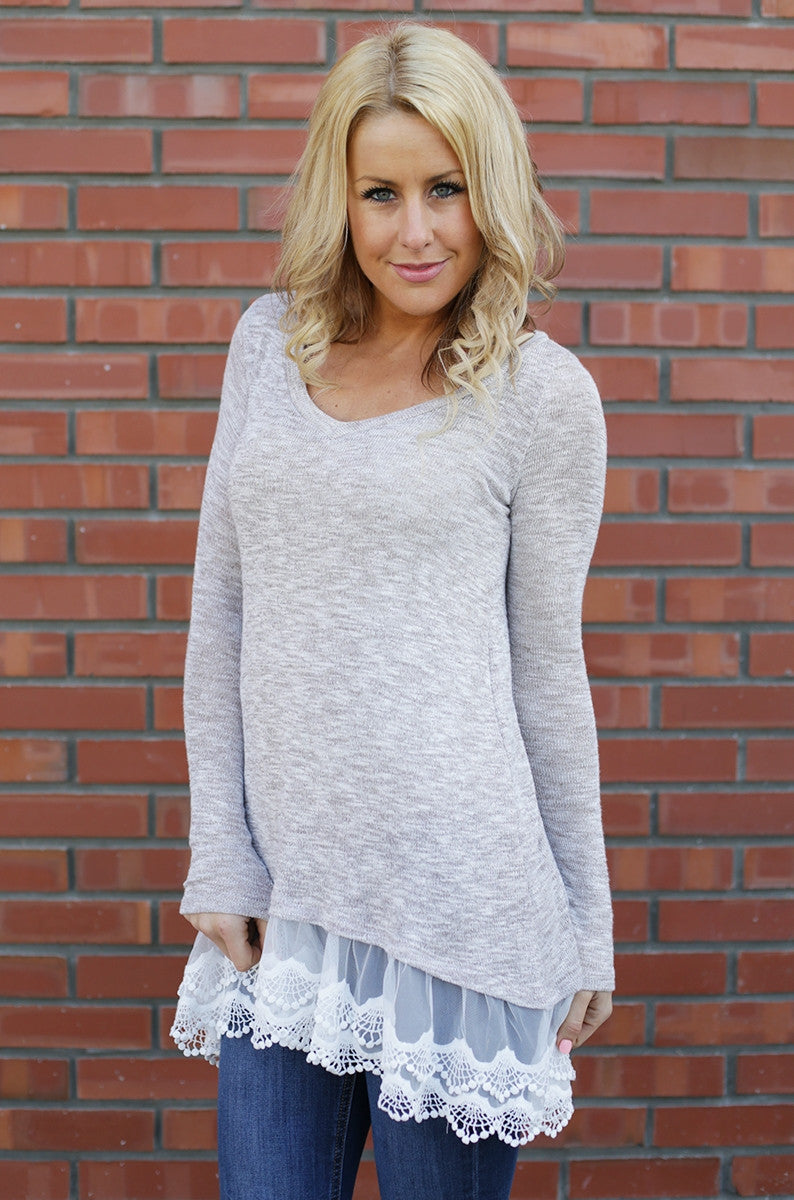 Lace Bottom Sweater