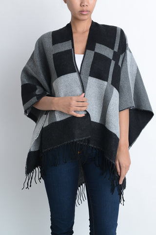 Black and Gray Print Poncho