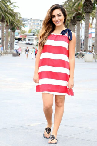 Red & White Striped Dress with Blue Tie