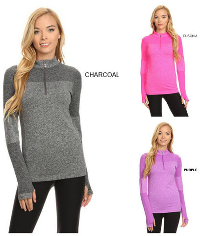 Zip Up Pullover with Thumb Opening