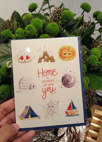 home is wherever i'm with you - green bean studio love card