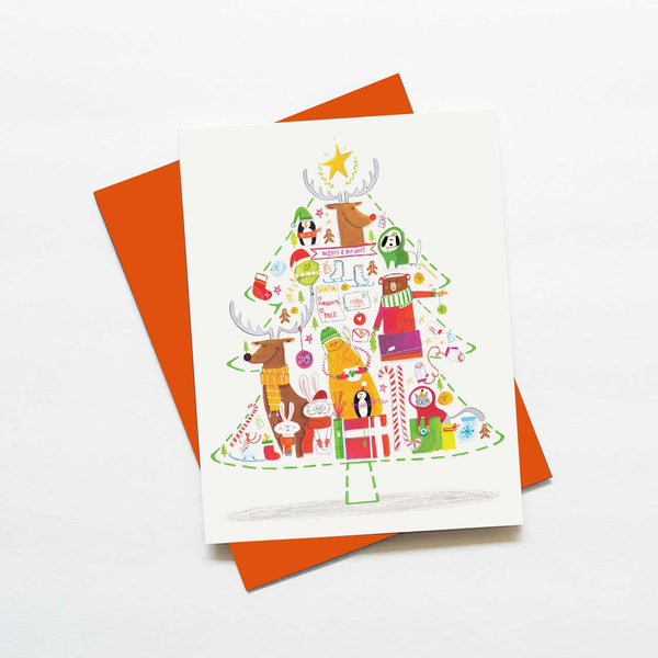 Christmas tree whimsical critter holiday card