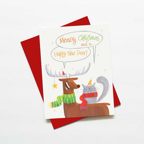 Punny cat and reindeer Christmas card