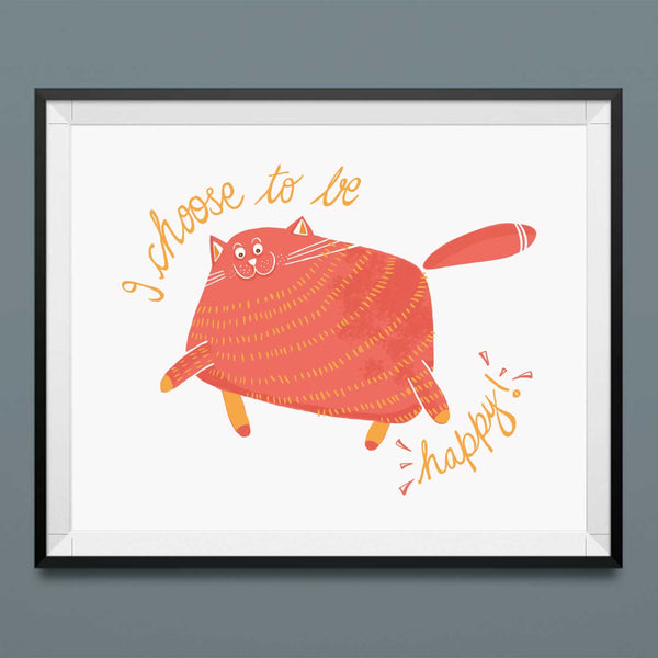 fat cat art print - green bean