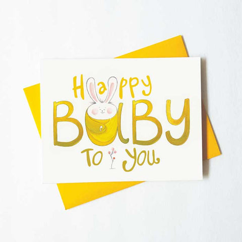 happy baby to you - bunny baby card - green bean studio
