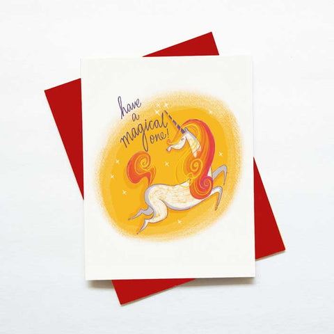Unicorn birthday card - have a magical one -green bean studio
